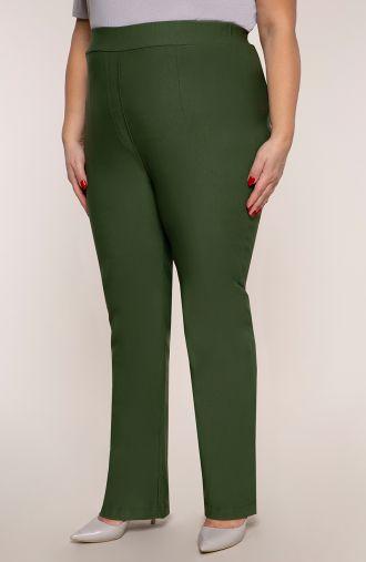 Proste spodnie bardzo wysoki stan oliwka
