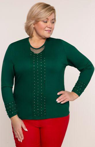 Zielona bluzka z koralikowym przodem
