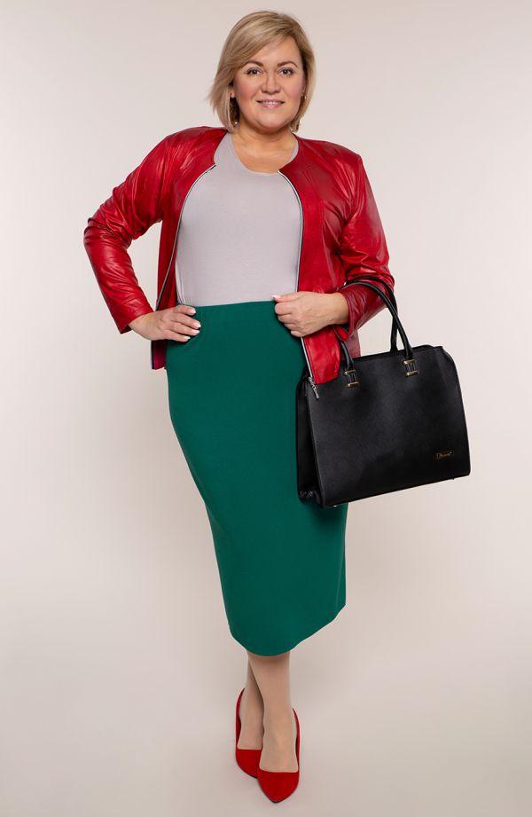 Dłuższa elegancka spódnica w zielonym kolorze