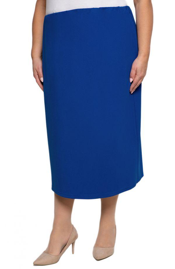 Dłuższa elegancka spódnica w chabrowym kolorze