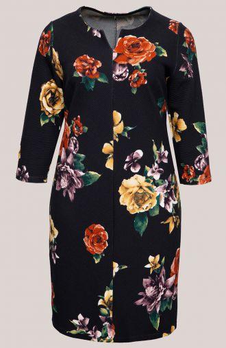 Czarna prążkowana sukienka w kwiaty