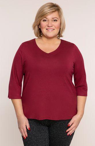 Bordowa bluzka z dekoltem typu serek