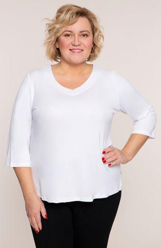 Biała bluzka z dekoltem typu serek