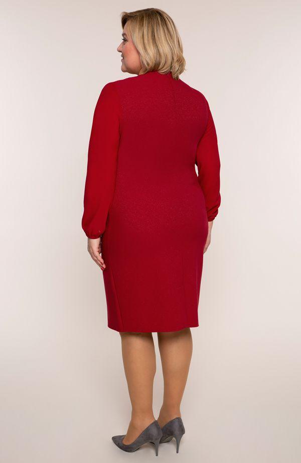 Bordowa sukienki z szyfonowymi rękawami