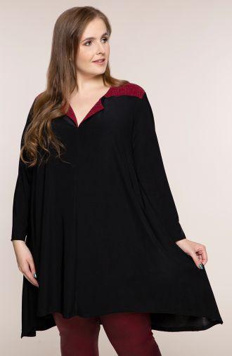 Czarna tunika z bordowym karczkiem