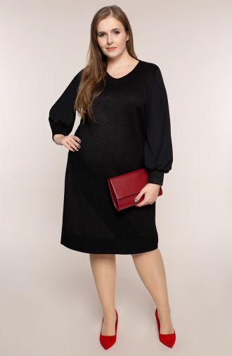 Czarna brokatowa sukienka z szyfonem