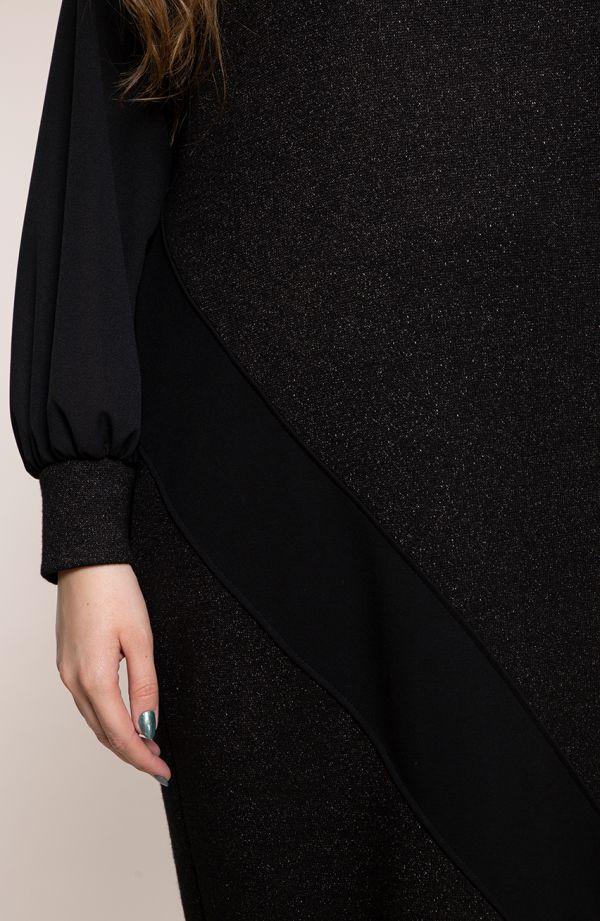 Czarna brokatowa sukienki z szyfonem