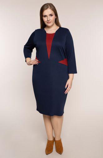 Granatowa sukienka z czerwonymi akcentami
