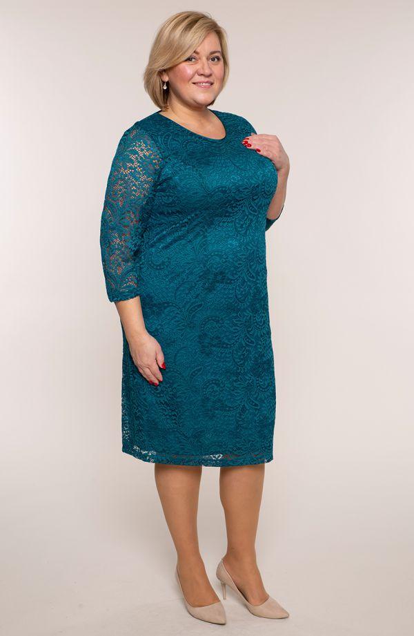 Koronkowa sukienka w morskim kolorze 3/4 - sukienki plus size