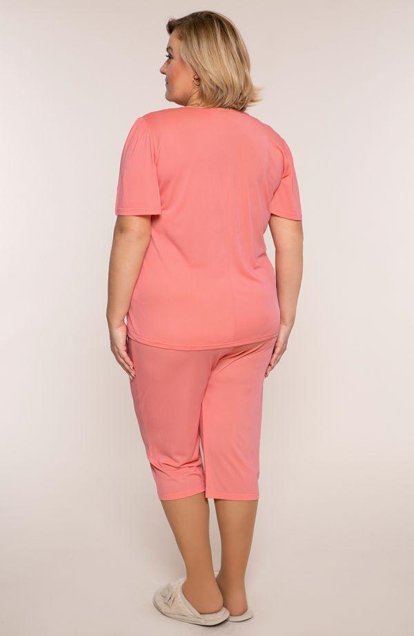 Łososiowa piżama z koronką przy dekolcie