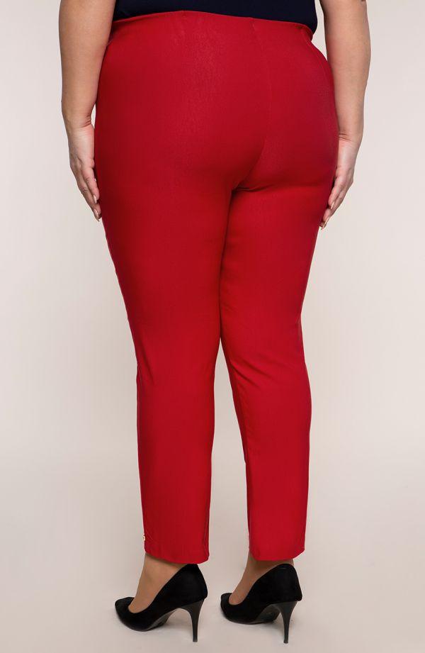 Czerwone spodnie 7/8 z wysokim stanem