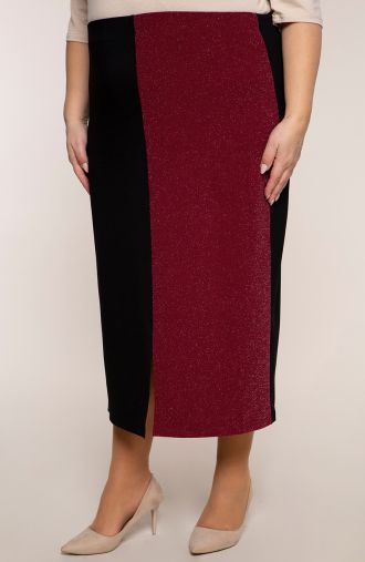 Spódnica z bordowym brokatowym bokiem