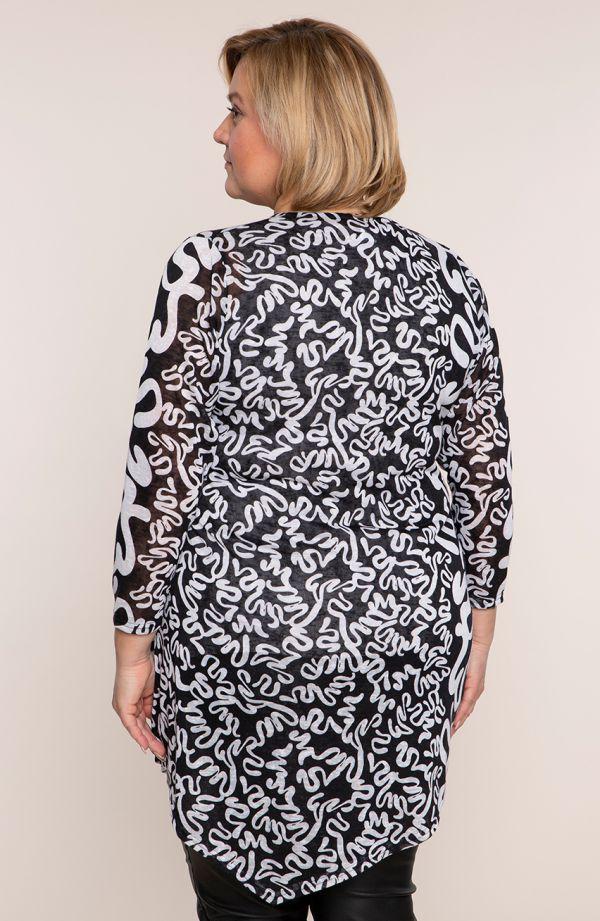 Asymetryczna tunika białe zawijasy