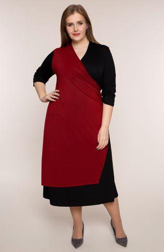 Kopertowa sukienka z bordowym brokatem