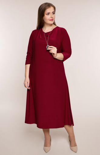 Bordowa sukienka z lejącym się dekoltem