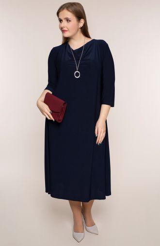 Granatowa sukienka z lejącym się dekoltem