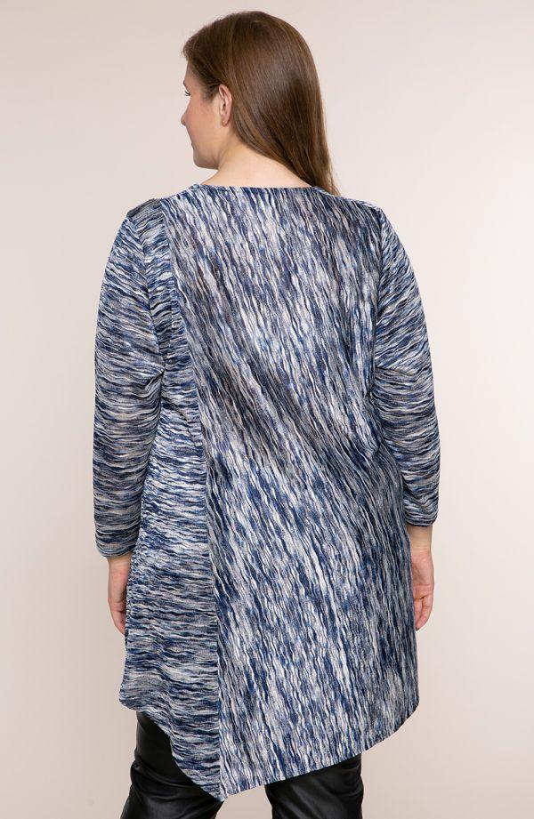 Asymetryczna tunika niebieski marmurek