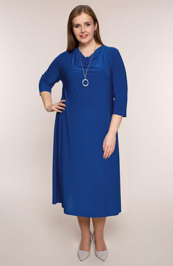 Chabrowa sukienka z lejącym się dekoltem