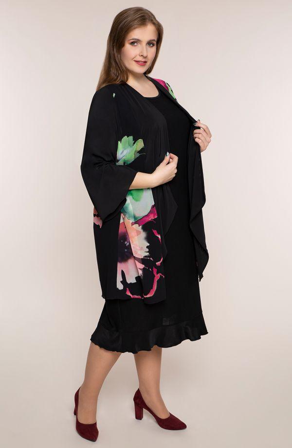 Czarna sukienka z kwiatową narzutką