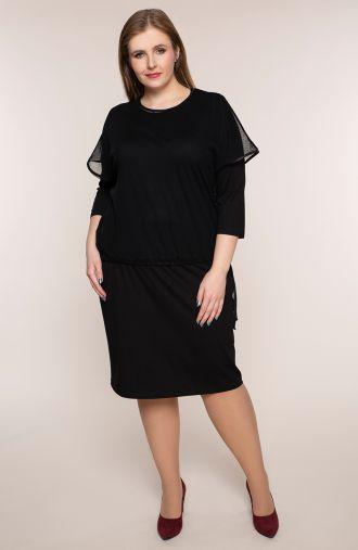 Czarna sukienka z tiulową bluzeczką
