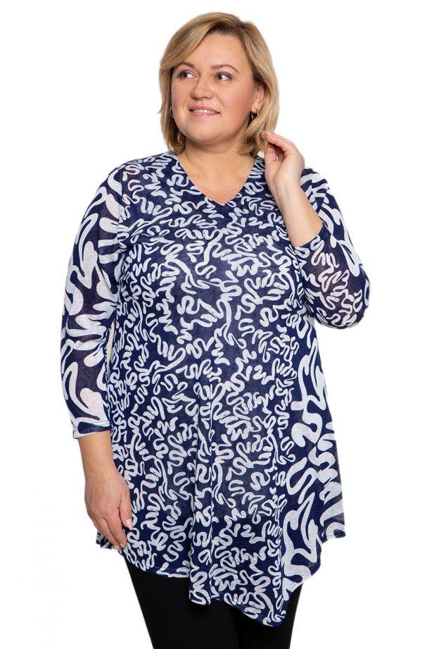 Asymetryczna tunika błękitne zawijasy