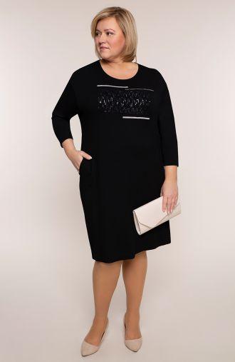 Długa czarna sukienka z dżetami