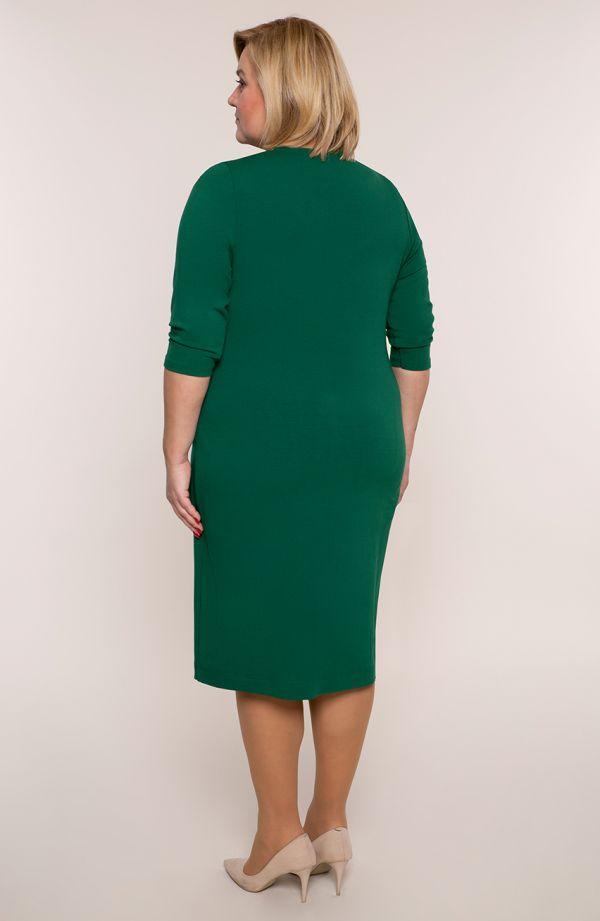 Zielona sukienka z dzianiny z dekoltem w serek