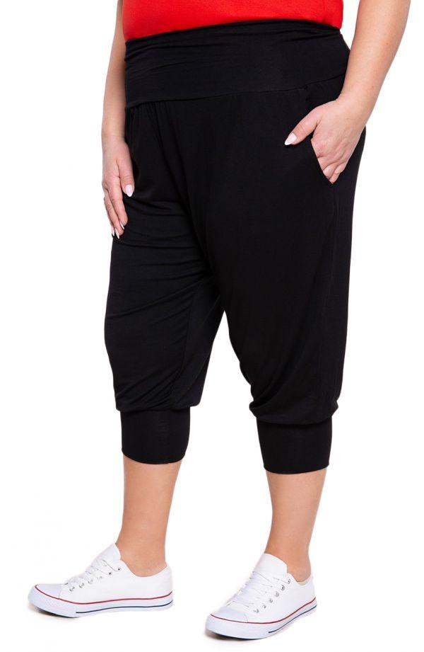 Czarne legginsy plus size szarawary