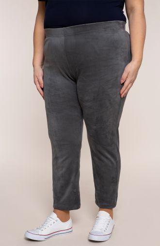 Spodnie dresowe z szarego weluru