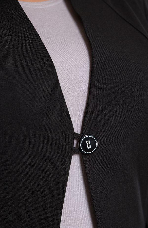 Lniany żakiet w czarnym kolorze