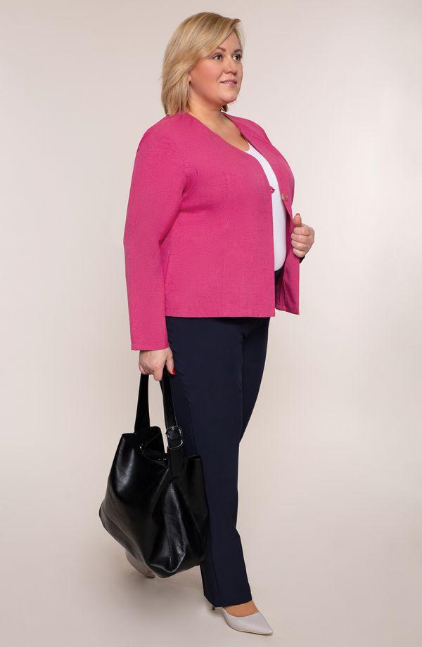 Lniany żakiet w różowym kolorze