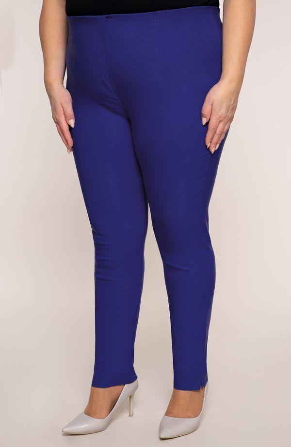 Chabrowe zwężane spodnie cygaretkiplus size dla puszystych z bengaliny