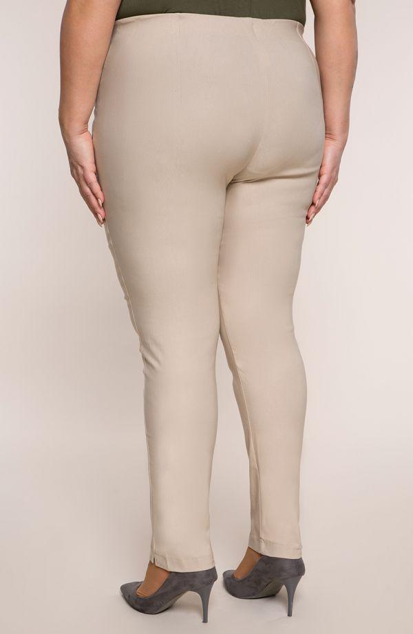 Beżowe zwężane spodnie cygaretki z bengaliny