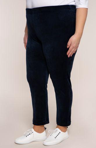 Spodnie dresowe z granatowego weluru