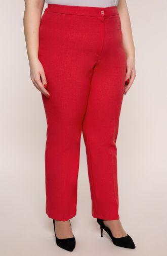 Lniane proste spodnie w kant czerwień