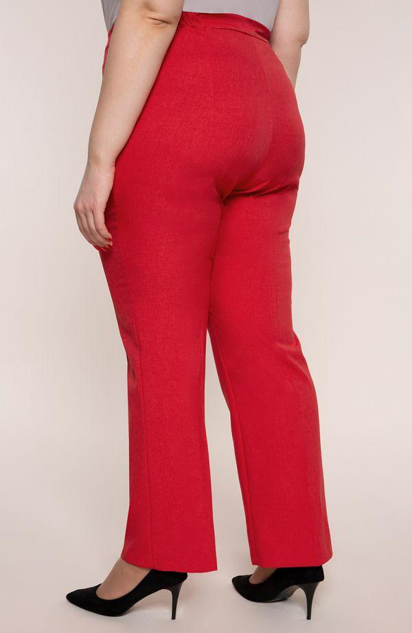 Lniane proste spodnie plus sizew kant czerwień