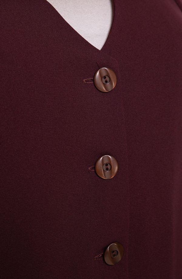 Burgundowy luźny żakiet z mankietami