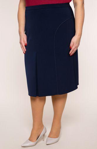 Granatowa prosta spódnica z lamówką