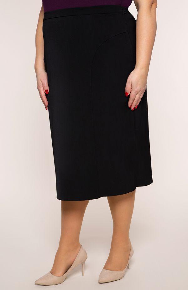 Klasyczna czarna spódnica z przeszyciami