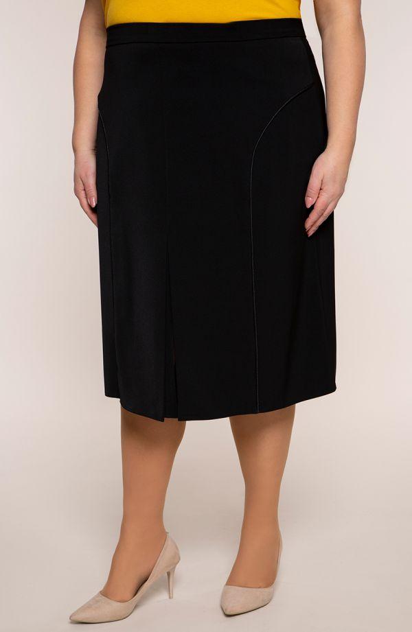 Czarna prosta spódnica z lamówką