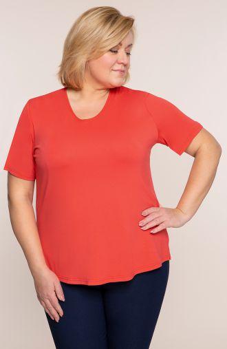 Koszulka z wiskozy w koralowym kolorze