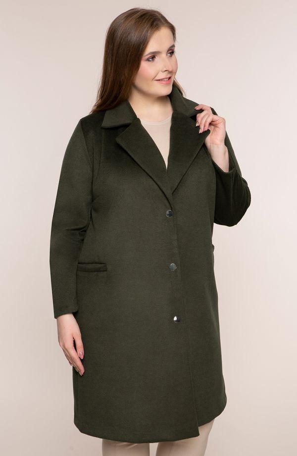 Klasyczny khaki płaszcz z flauszu