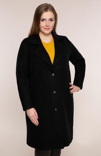 Klasyczny czarny płaszcz z flauszu