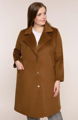 Klasyczny karmelowy płaszcz z flauszu
