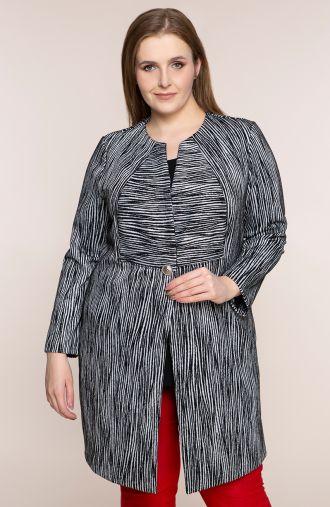 Elegancki płaszczyk w szarą zeberkę