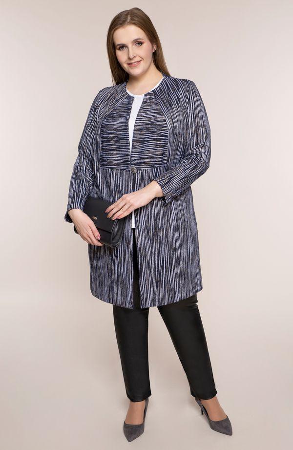 Elegancki płaszczyk w liliową zeberkę