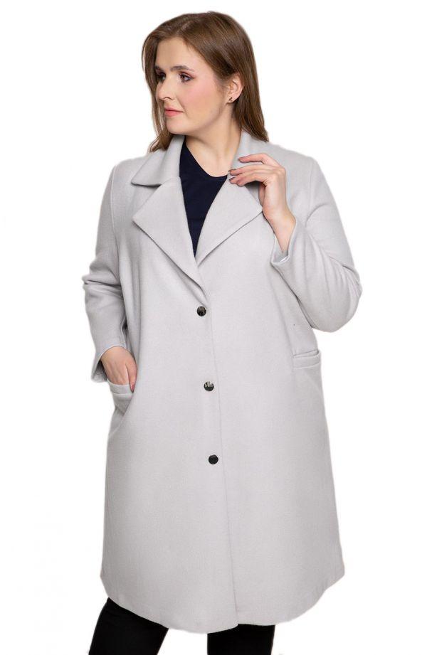 Klasyczny szary płaszcz z flauszu