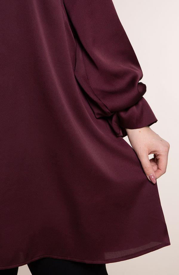 Długa tunika w śliwkowym kolorze