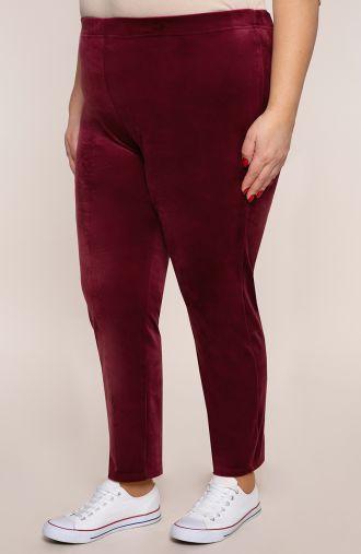 Spodnie dresowe z bordowego weluru
