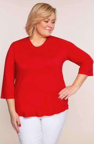 Czerwona bluzka z okrągłym dekoltem